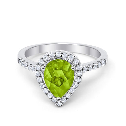 Halo Teardrop Bridal Filigree Ring Simulated Peridot Round Cubic Zirconia 925 Sterling Silver