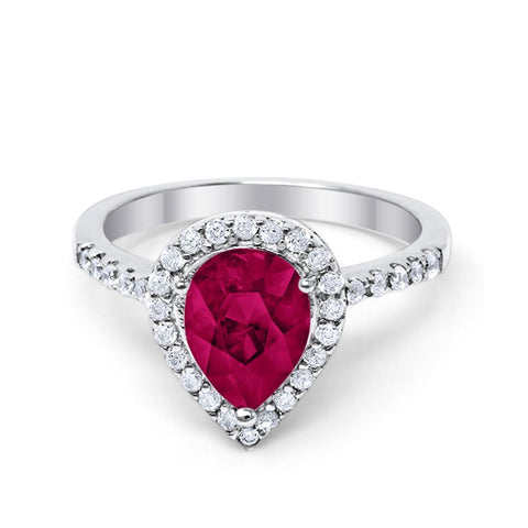 Halo Teardrop Bridal Filigree Ring Simulated Ruby Round Cubic Zirconia 925 Sterling Silver