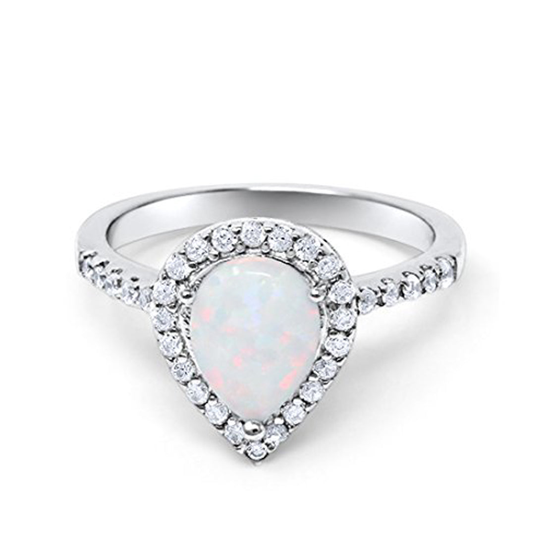 Halo Teardrop Bridal Filigree Ring Lab White Opal 925 Sterling Silver