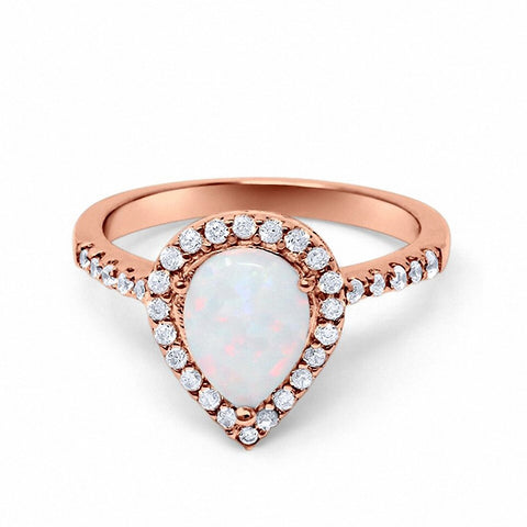 Halo Teardrop Bridal Filigree Ring Lab White Opal Round CZ Rose Tone 925 Sterling Silver