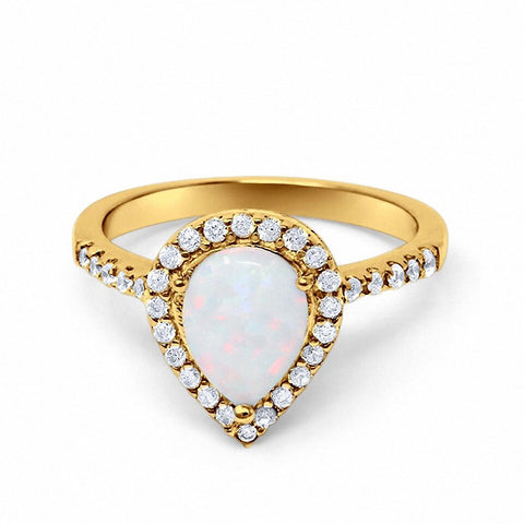 Halo Teardrop Bridal Filigree Ring Yellow Tone, Lab White Opal  925 Sterling Silver