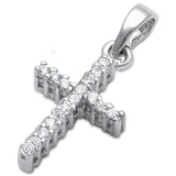 Petite Cross Pendant Round Simulated Cubic Zirconia 925 Sterling Silver