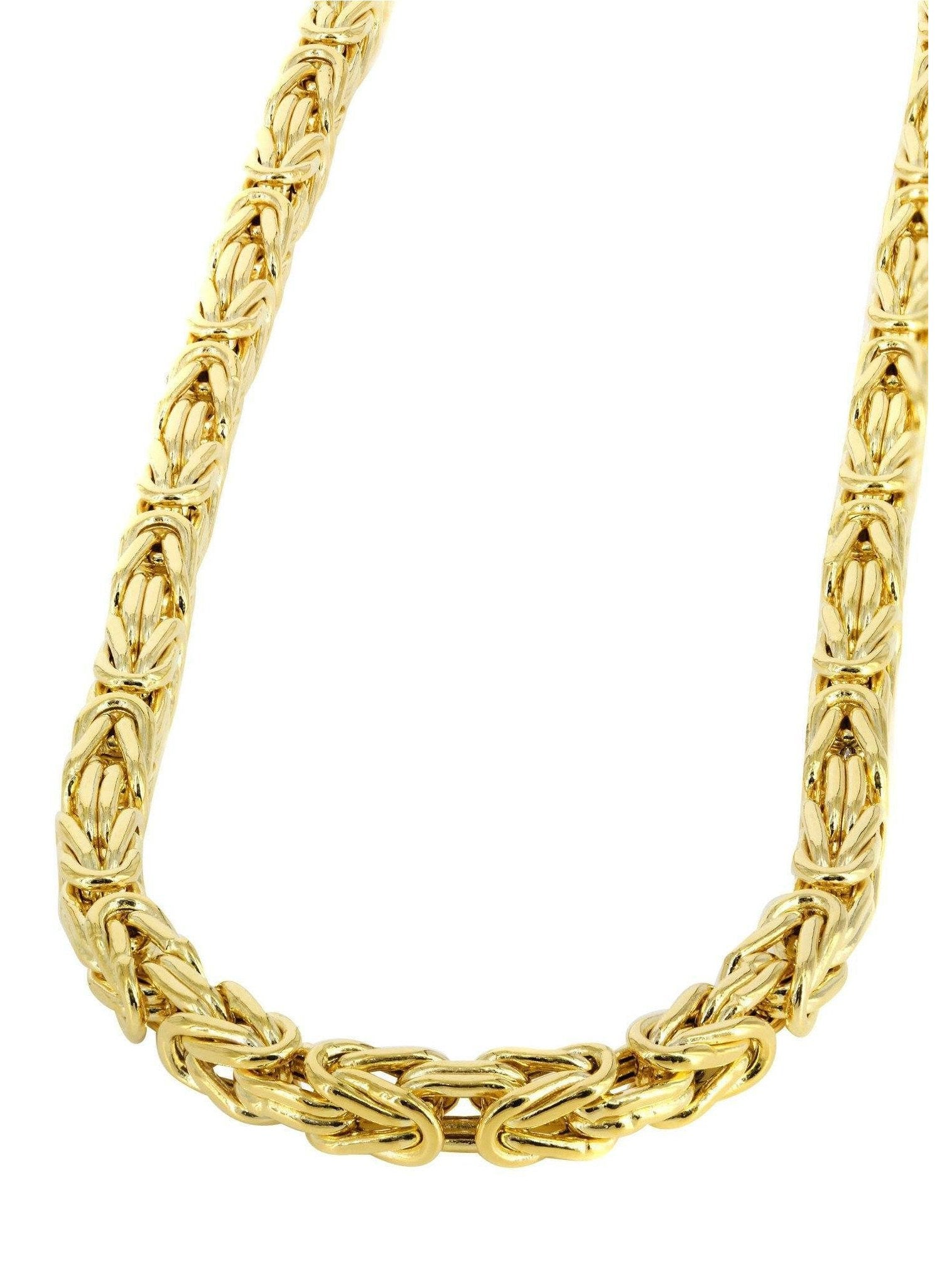 "4.5MM 100 Byzantine Chain Yellow Gold .925 Sterling Silver Length ""8-28"" Inches"