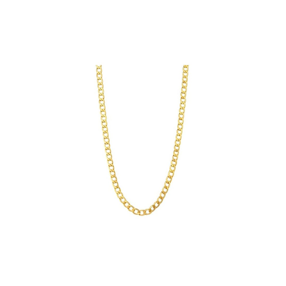 "1.3MM 030 Yellow Gold Curb Chain .925 Sterling Silver ""16-22"""