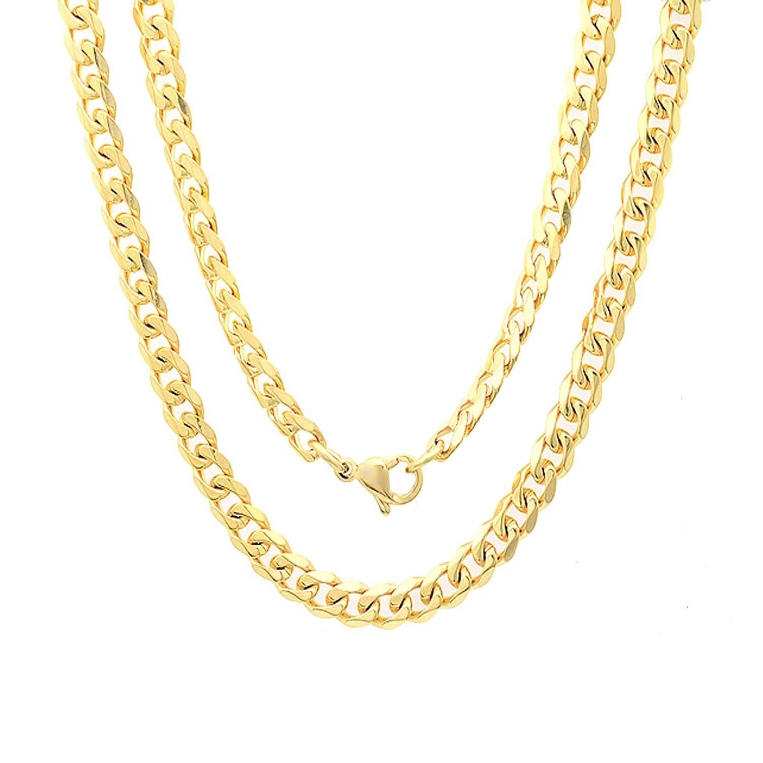 "7MM 180 Yellow Gold Curb Chain .925 Sterling Silver ""8-30"""