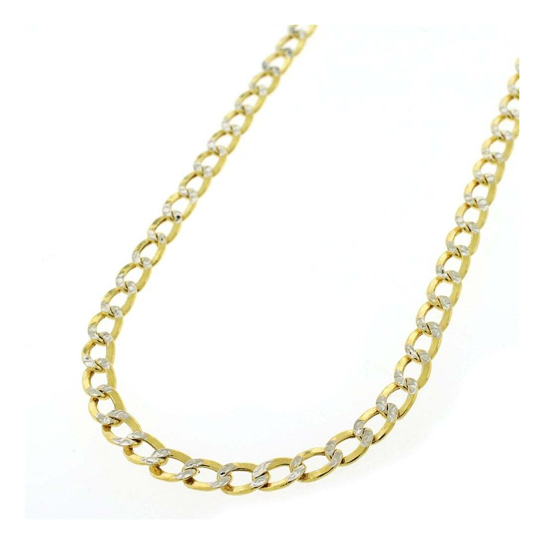 "4.5MM 120 Pave Curb Yellow Gold .925 Sterling Silver Length ""7-26"" Inches"
