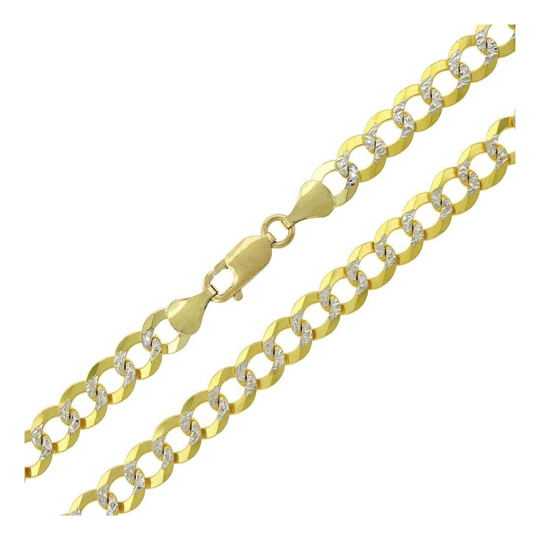 "7.5MM 180 Two Tone Pave Curb Yellow Gold .925 Sterling Silver Length ""8-30"" Inches"