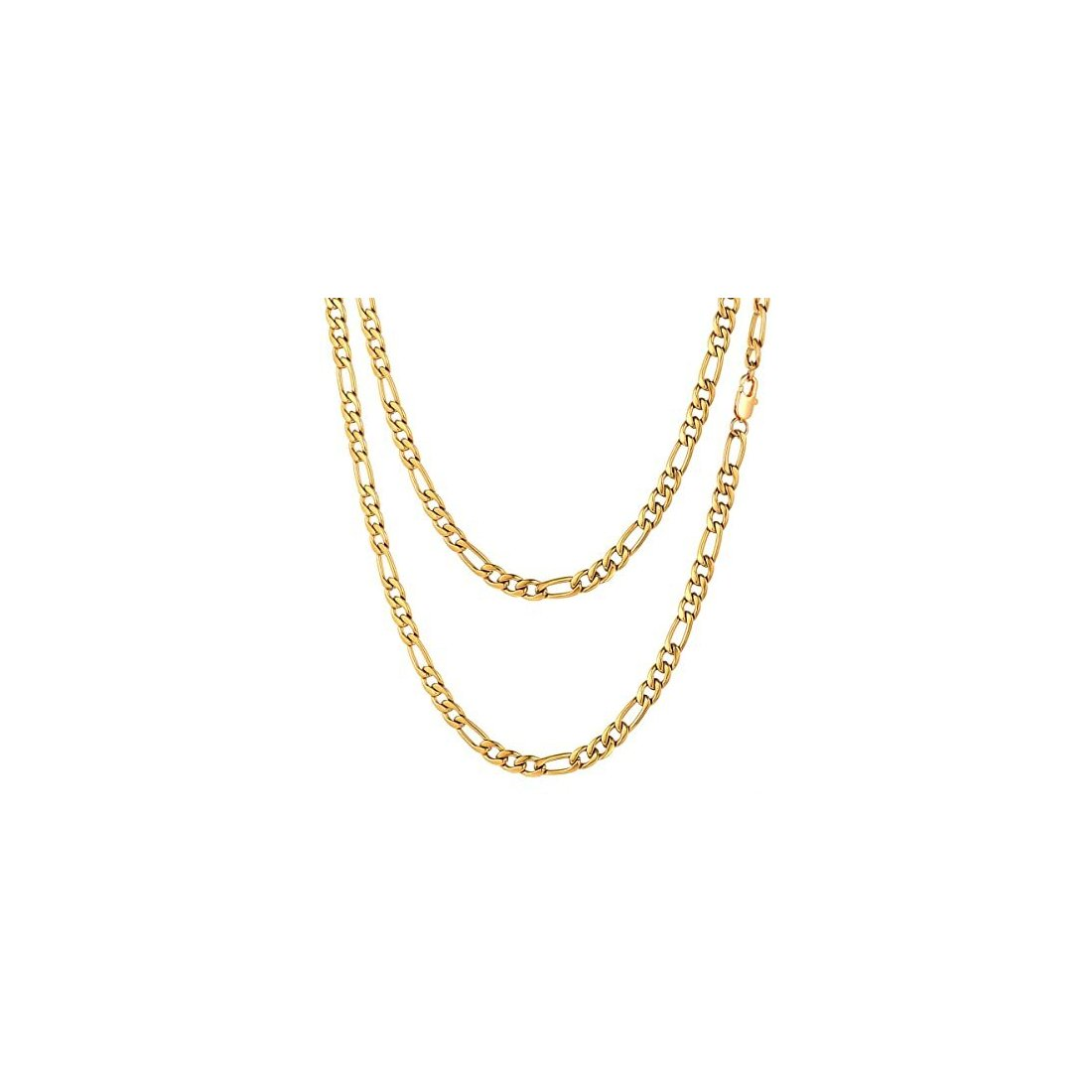 "1.5MM Yellow Gold Figaro Chain .925 Solid Sterling Silver 16""- 24"" Inches"
