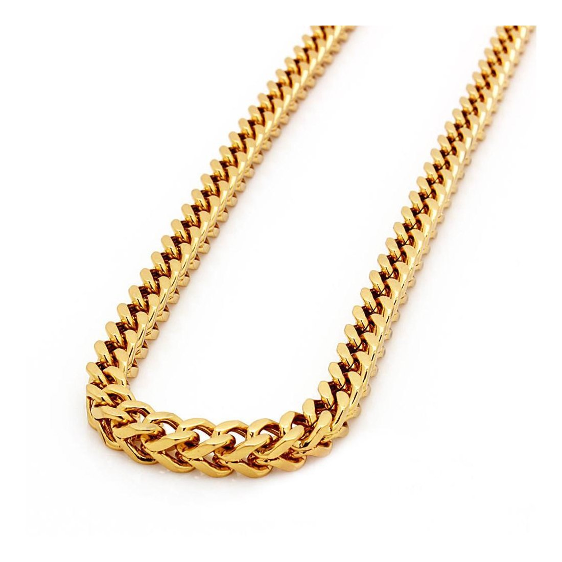 "2.4MM 080 Franco Chain Yellow Gold .925 Sterling Silver Length ""8-28"" Inches"