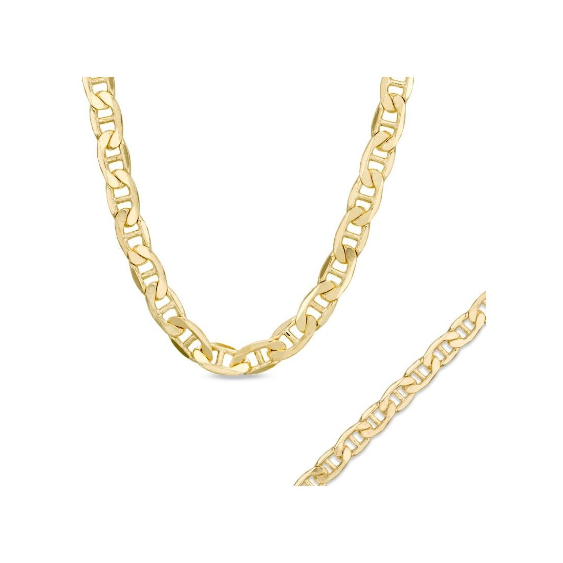 "11.8MM 250 Mariner Link Yellow Gold Chain 925 Sterling Silver Sizes ""8-28"""