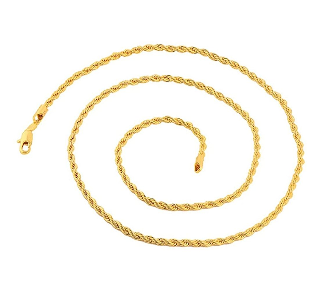 "3.5MM 070 Yellow Gold Rope Chain .925 Sterling Silver Sizes""8-28"""