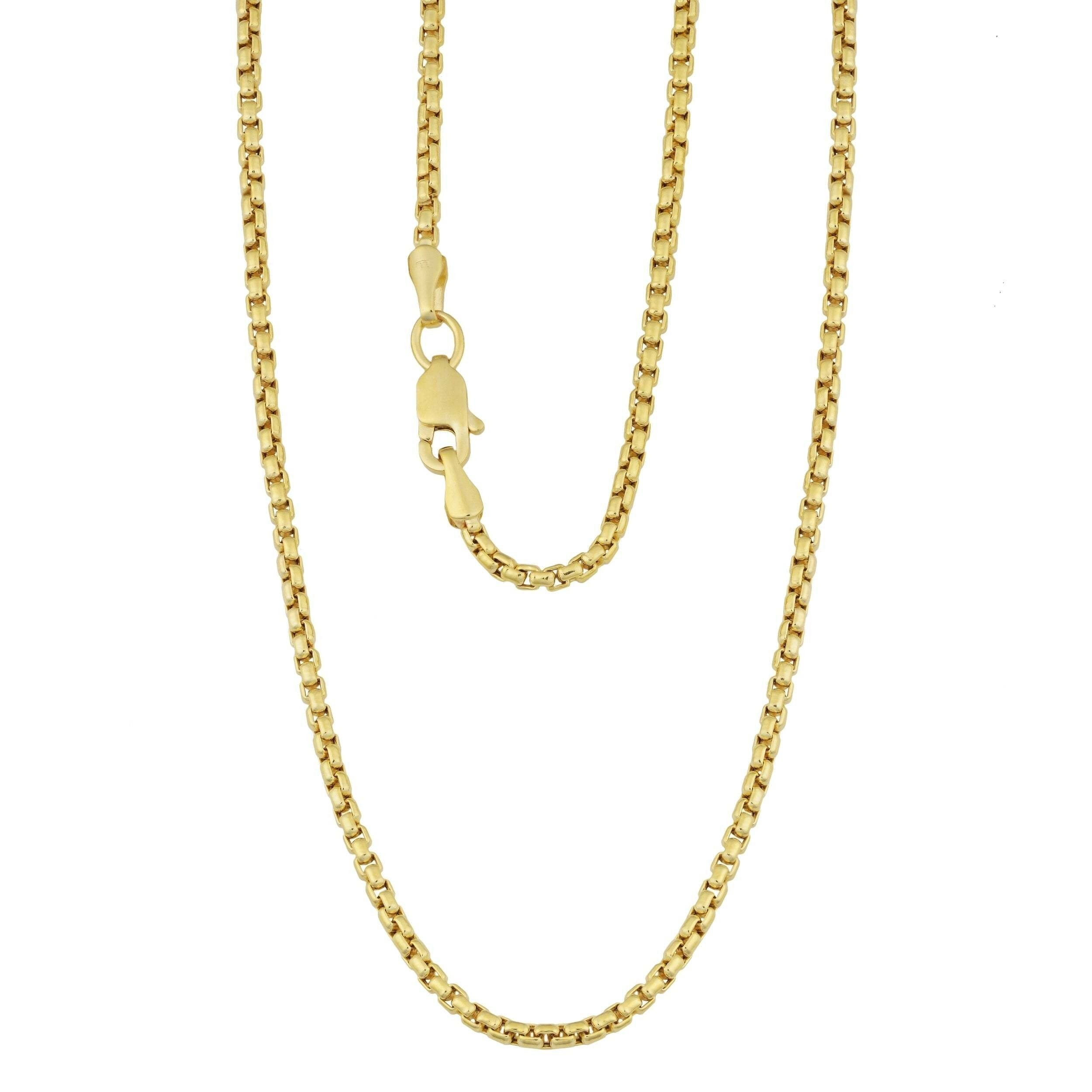 "1MM 019 Yellow Gold Round Box Chain .925 Sterling Silver ""16-20"""