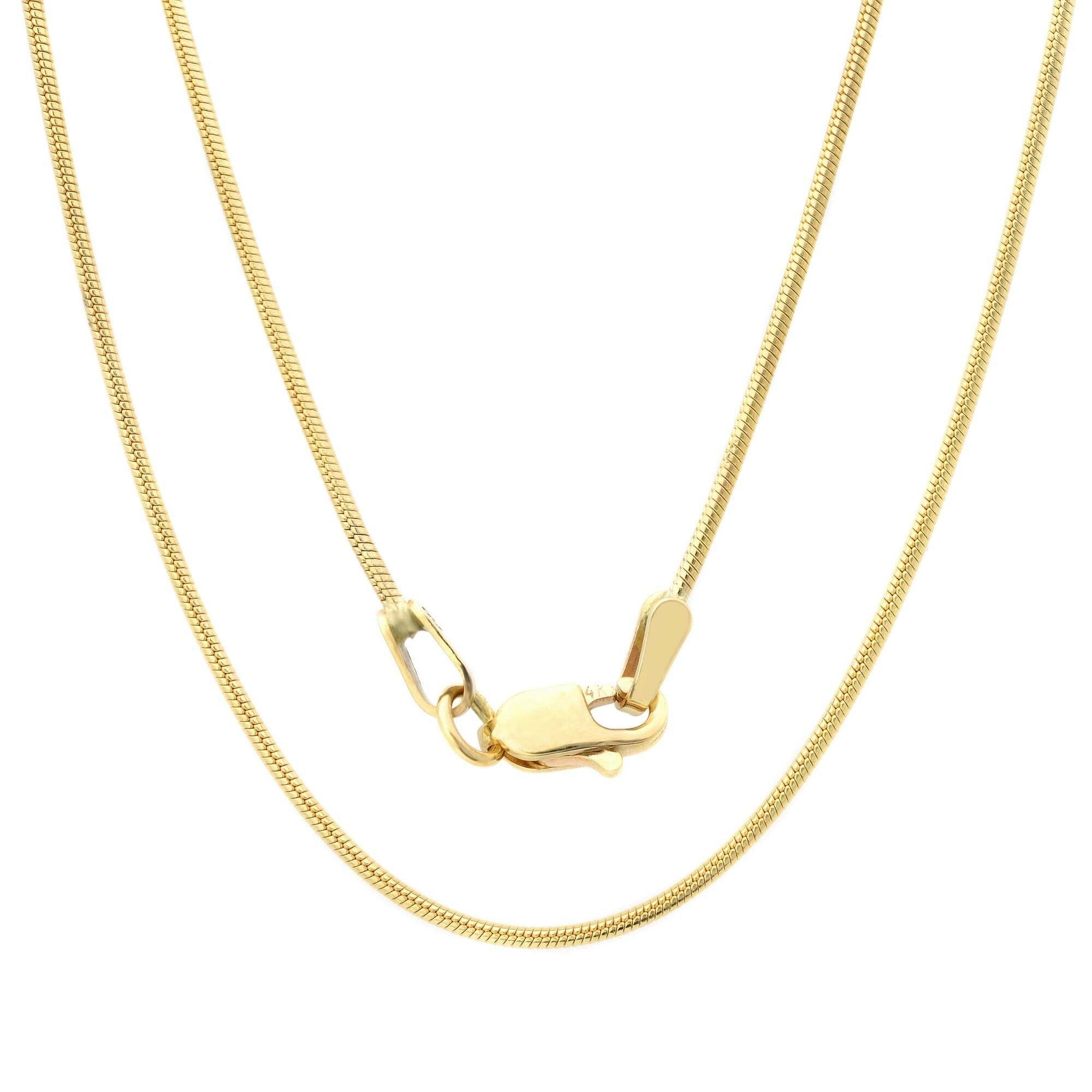 ".70MM 015 8 Sides Yellow Gold Snake Chain .925 Sterling Silver Sizes ""16-20"""