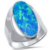 Blue Opal .925 Sterling Silver Ring sizes 5-11