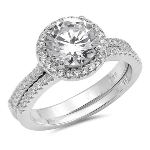Halo Two Piece Wedding Engagement Ring Round Simulated Cubic Zirconia 925 Sterling Silver