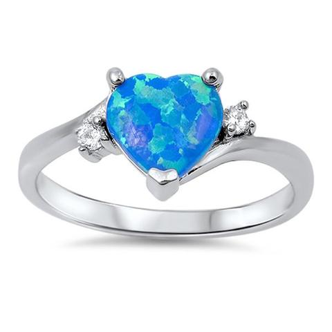 Heart Promise Ring Lab Created Blue Opal Round CZ 925 Sterling Silver