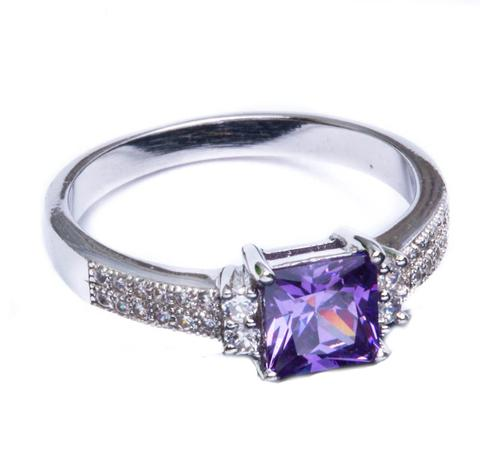 Princess Cut Solitaire Wedding Ring Round Simulated Amethyst CZ 925 Sterling Silver