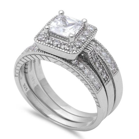 Halo Princess Cut Round Simulated CZ Wedding Trio Set 925 Sterling Silver