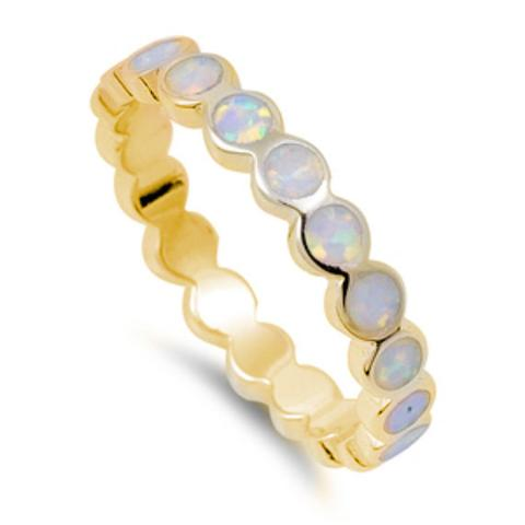 Eternity Wedding Ring Yellow Tone, Lab White Opal 925 Sterling Silver