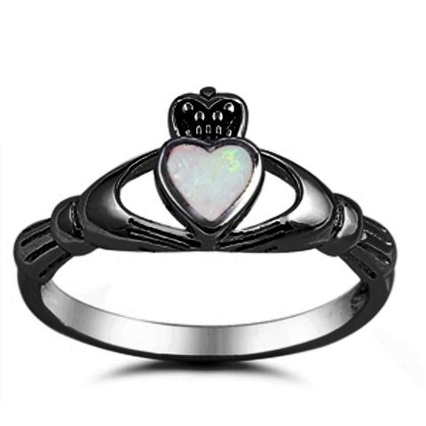 Claddagh Crown Ring Black Tone, Lab White Opal 925 Sterling Silver