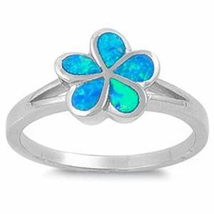 Blue Opal Plumeria .925 Sterling Silver Ring Sizes 5-10