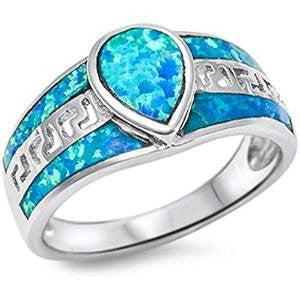 Pear Shape Blue Opal .925 Sterling Silver Ring sizes 5-11