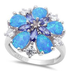 Blue Opal, Tanzanite & Cz Flower .925 Sterling Silver Ring sizes 6-10