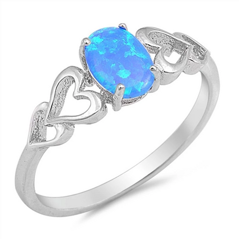 Solitaire Promise Ring Oval Lab Created Blue Opal Heart Accent 925 Sterling Silver