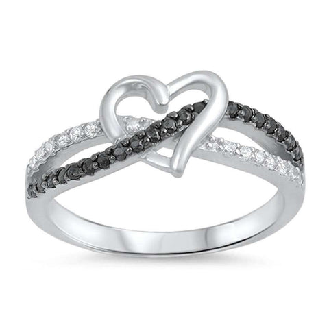 Infinity Heart Ring Round Simulated Black and Clear CZ 925 Sterling Silver