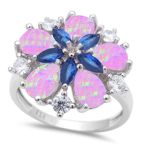 Pink Opal, Sapphire & Cz Flower .925 Sterling Silver Ring sizes 5-10