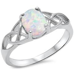 Vintage Style Wedding Ring Lab White Opal 925 Sterling Silver
