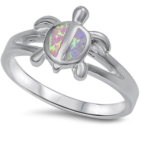 Pink Opal turtle .925 Sterling Silver Ring Sizes 5-10