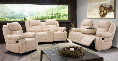 BRYLEA BEIGE LEATHER SOFA COLLECTION
