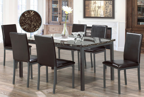 CLAIR MARBAL 6 CHAIR DINING SET