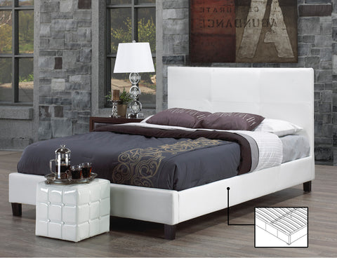 FAUX LEATHER WHITE PLATFORM BED WITH CONTRAST STITCHING