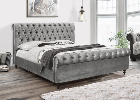 DOMINIC GREY SLEIGH BED