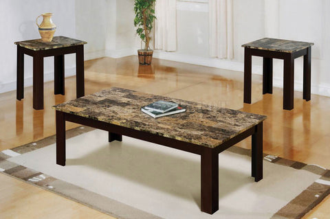 MARBLE BROWN COFFEE TABLE SET