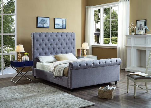ELYANA GREY SLEIGH BED