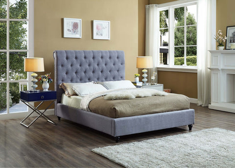 DENISE GREY SLEIGH BED