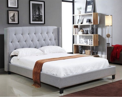 BELLA GREY PLATFORM BED