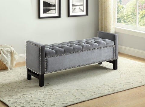 BELMONT GREY STORAGE BENCH