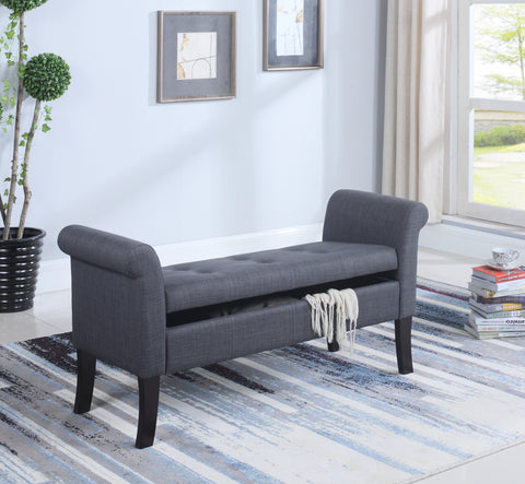 RIONE DARK GREY STORAGE BENCH