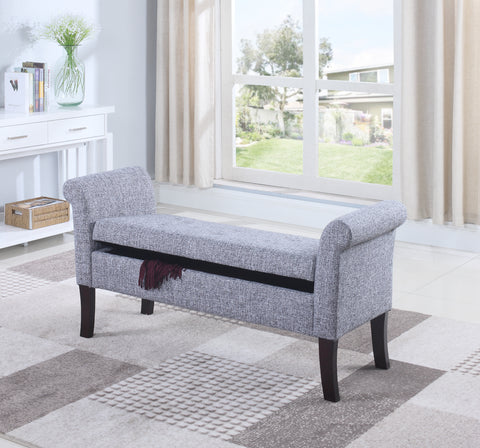 RIONE GREY STORAGE BENCH