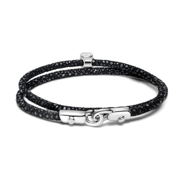 C Wrap - Bracelet - 925 Sterling Silver - Stingray Leather - Gab Mc Neil