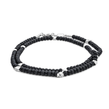 Beaded Skullz - Bracelet - 925 Sterling Silver - Black Glass - Gab Mc Neil