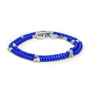 Beaded Skullz - Bracelet - 925 Sterling Silver - Blue Glass - Gab Mc Neil