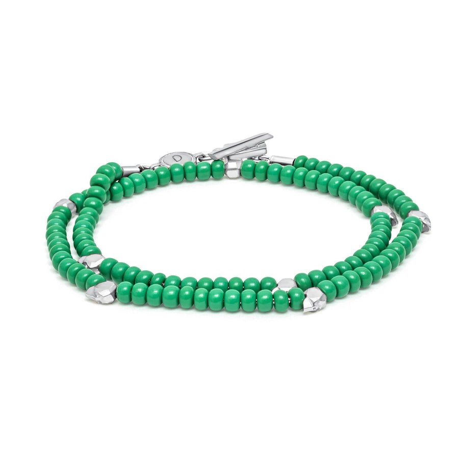 Beaded Skullz - Bracelet - 925 Sterling Silver - Green Glass - Gab Mc Neil