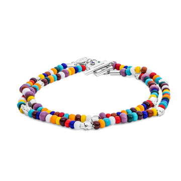 Beaded Skullz - Bracelet - 925 Sterling Silver - Multi Color Glass - Gab Mc Neil