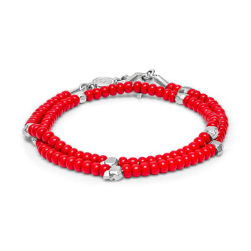 Beaded Skullz - Bracelet - 925 Sterling Silver - Red Glass - Gab Mc Neil