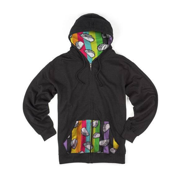 Black Color Ray Zipper Hoodie